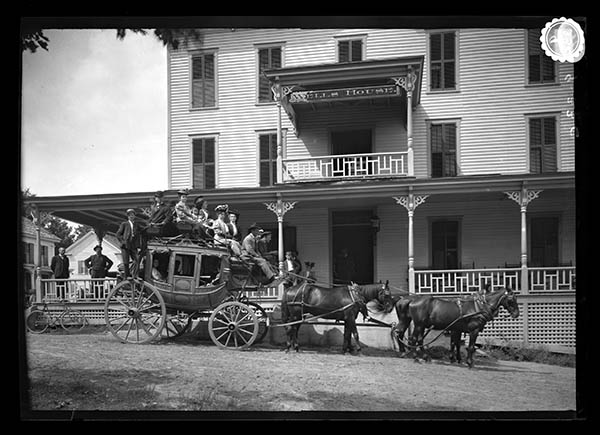 Horse Drawn Stage in Front of Wells Hotel 1906