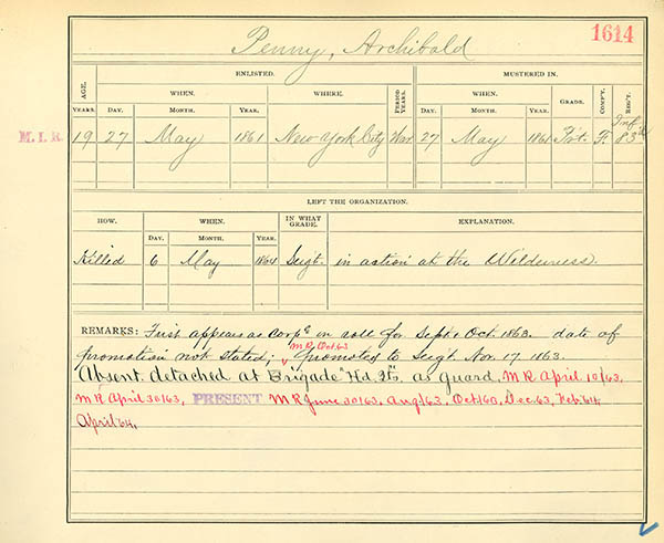 Muster Roll Abstract for Archibald Penny